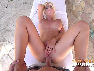 English teacher turns into a masseur and drills vagina of ravishing MILF Tiffany Rousso
