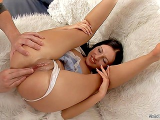 Good-looking brunette moans as naughty partner actively fingers her dripping wet shaved pussy