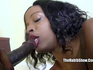 Ebony hussy with sex toy in ass made the choice to suck big dick in front of camera