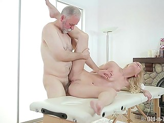 Young masseuse makes old client so excited that his boner desperately needs to be caressed