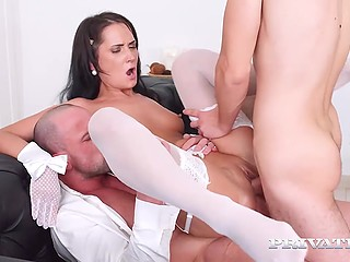 Pleased friends double penetrate young brunette bitch and erupt cum on pretty face