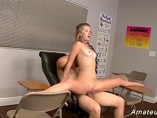Skinny student sucks cock and then does the splits riding it no the professor's chair