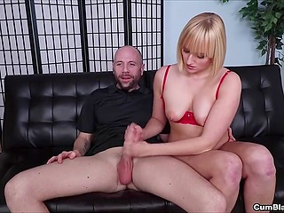 Attractive blonde relaxes bald friend by giving amazing handjob that drives him to total pleasure