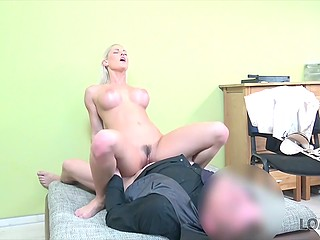Need of loan motivates stunning blonde Blanche Bradburry to have quick fun with moneylender