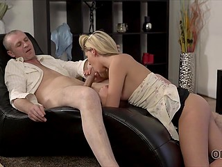 Blonde works as a housemaid in old man's apartment and he fucks girl from time to time