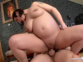 Pregnant woman only recognizes hard fucking and only boyfriend has the privilege to cum over tummy
