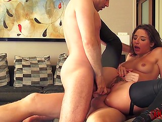 Girl with the booty Abella Danger invited date home not for tea drinking but only for double penetration