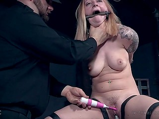 Slutty MILF misbehaved so male with vibrator tied her to a pipe and made cum in a dark cellar