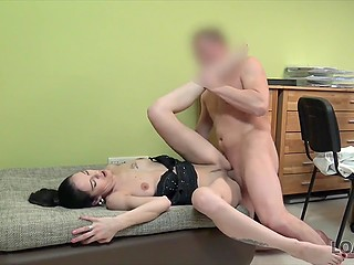 Bank employee makes brunette girl understand that she will receive loan much faster if serves his cock
