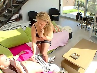 Calculating Spanish guy fucks blonde maid in black stockings after she cleans the house