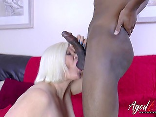 Bored blonde granny called black inamorato at home as she was in need of good dicking