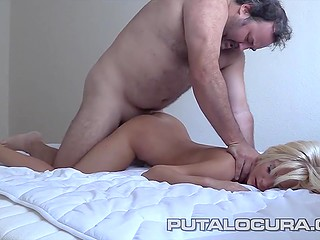 Paunchy Spanish man takes the initiative penetrating blonde's pussy from behind then in missionary