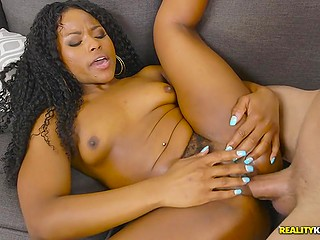 Ebony young woman accosts athletic man and gets penetrated for being such a bad girl