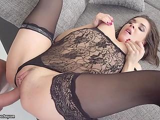 Slender Euro girl in sexy lingerie and black stockings let lover assfuck her all over living room