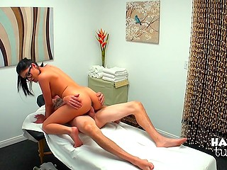 Teen masseuse is so cute and open-minded that it's not hard for her to strip and take cock in pussy