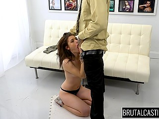 Agent ties up hands of winsome Latina girl and porn casting promises to be interesting
