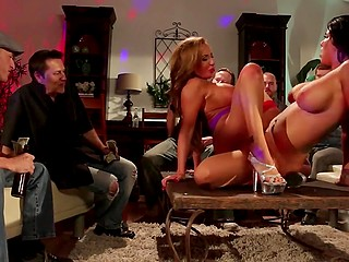 Male has an important evening and paid a lot of money to buxom MILFs for strip lesbian show