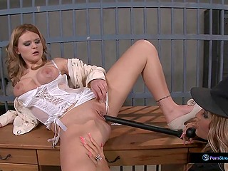Prison warden releases splendid girl from cell and satisfies her pussy using baton