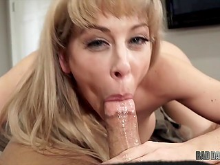 Cherie Deville's stepdad is a good man and she makes him sex surprise on camera