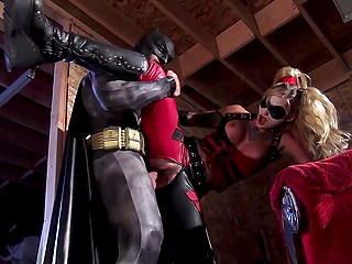 Dirty-minded bad girl Harley Quinn forgets about her lover Joker for sex with Batman