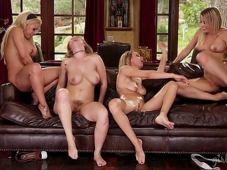 Four best friends often meet together to practice group lesbian sex and reach orgasm