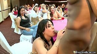 Очаровательная брюнетка готова на горячий оральный секс с чёрным стриптизёром