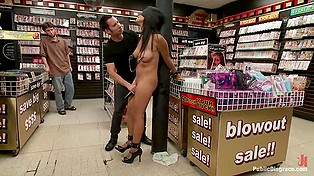 Latina Cassandra Cruz demonstrates natural breasts to male in black making her cum