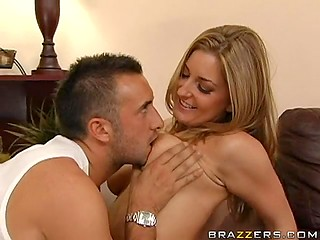 Keiran Lee shows how to give oil massage using juicy tits of beautiful blonde Avy Scott