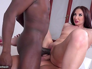 Hottie Violetta C facialized after being double penetrated by black doctor and her obedient husband