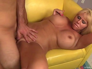 Busty MILF Karen Fisher gives a blowjob and make it with man till he unloads cum on her face