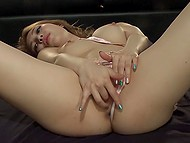 Oriental slut with small tits knows XXX business and gives desired satisfaction to viewers via masturbation