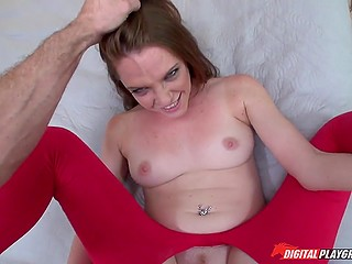 Red pants are torn so nothing prevents man from fucking the girlfriend's wet vagina
