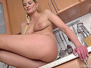 Careless housewife likes to smoke and masturbate hairy vagina with nimble fingers