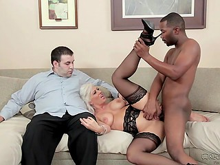 Shameless platinum blonde with big tits enjoys interracial sex in husband's presence