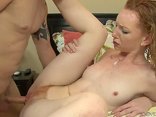 After relax in the pool slim redhead Katy Kiss has her hairy pussy penetrated with thick fuckstick