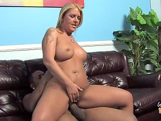 Short black guy fucks friend's white stepmom proving to the busty MILF that he is grown