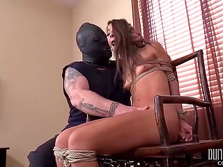 Pumped master in mask ties up the slender neighbor girl who has never practiced BDSM