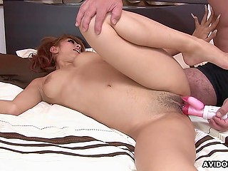 After fun with sex toy beautiful Japanese chick with natural tits actively jumps on partner's cock