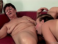 Cunnilingus is the main dish on the menu of the old lesbian with short hair and big-tittied lover