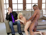 Big-boobied married slut gets it on with black lover right in front of her white husband