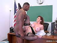 Black principal fucks the lecherous teacher Sara Jay with huge boobs as an instructive lesson