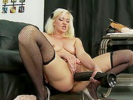 Blonde in fishnet stockings Whitney Grace has fun with dildo until it is time to taste a bigger size