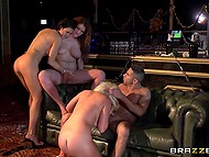 Three partygoers with big titties find a quiet place to discover the benefits of group fuck