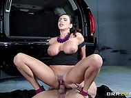 Ariella Ferrera has missed afternoon fuck, so personal driver's cock belongs to her now