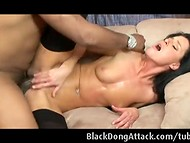 First-class small-titted girl India gets banged by brutal dude with big dong