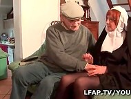 Old nun with hairy pussy has many sins, but still loves getting pounded by two men