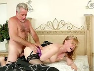 Booty mature Nina Harley fucking her naughty husband and getting a cumshot