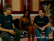 Ebony whore has a lot of sexual experience and makes happy white man fucking and sucking his cock