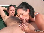 Brunette MILF swallows stranger's dick by the pool and immediately gets fucked