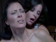 Sultry brunette strangled her horny girlfriend after hot night of lesbian pleasures